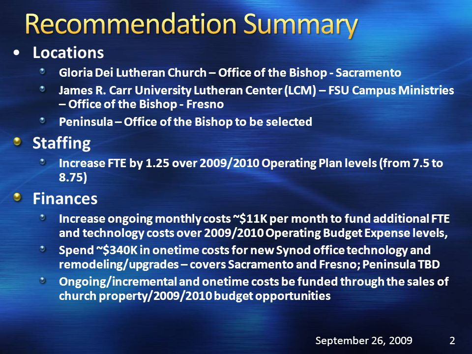 Locations Gloria Dei Lutheran Church – Office of the Bishop - Sacramento James R. Carr University Lutheran Center (LCM) – FSU Campus Ministries – Offi