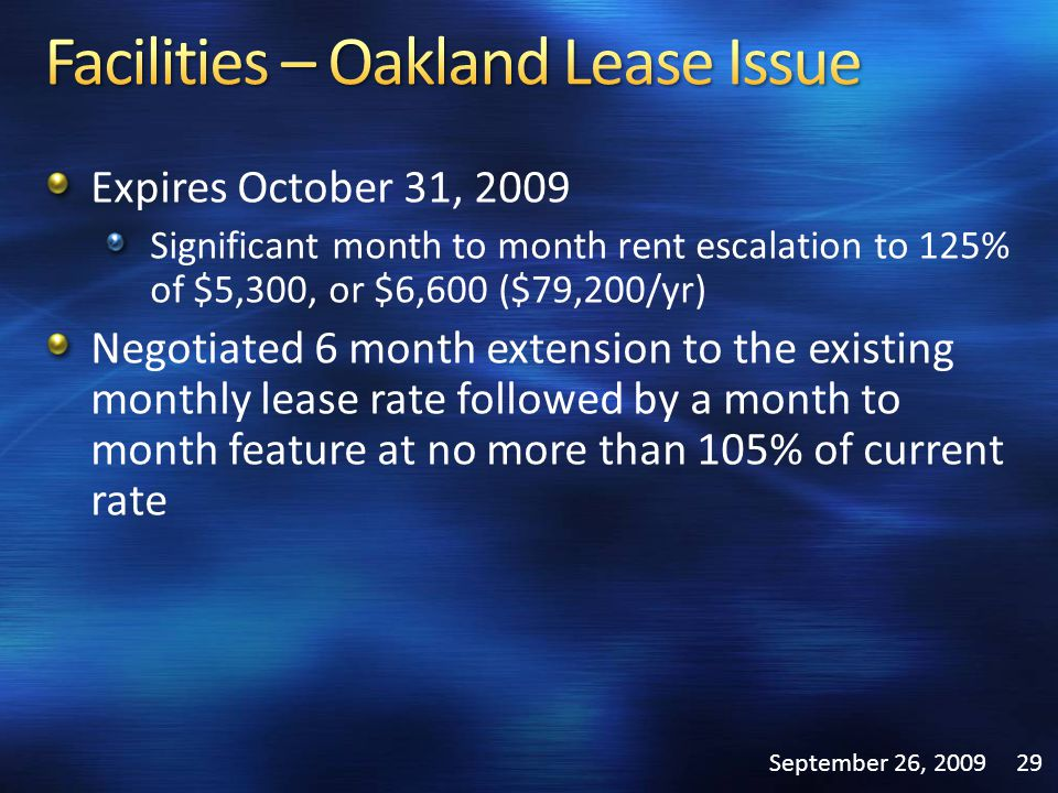 Expires October 31, 2009 Significant month to month rent escalation to 125% of $5,300, or $6,600 ($79,200/yr) Negotiated 6 month extension to the exis