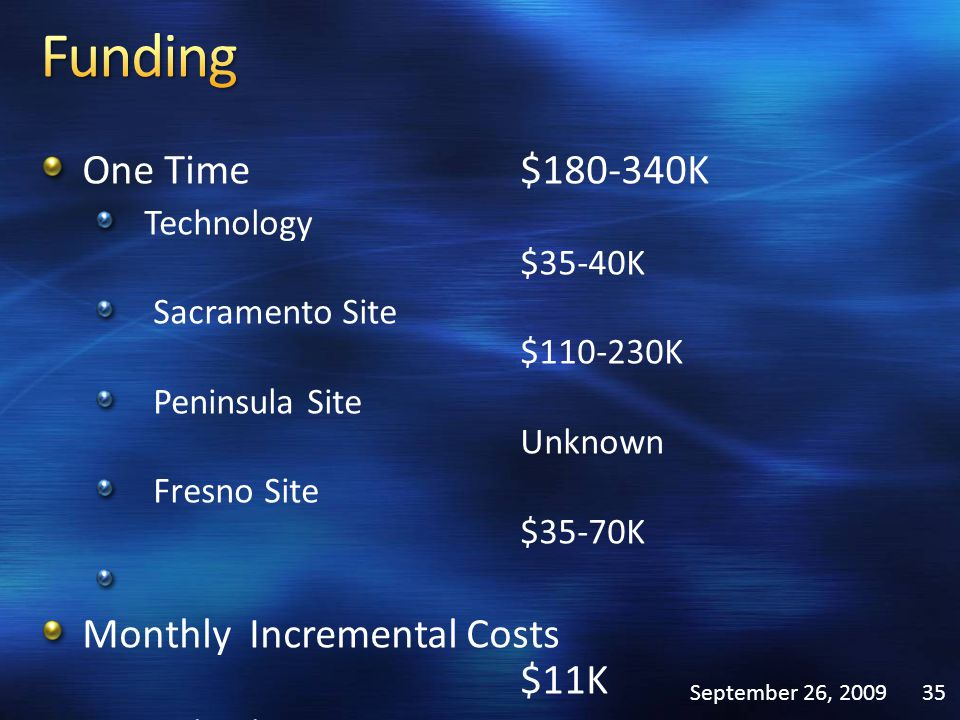 One Time$180-340K Technology $35-40K Sacramento Site $110-230K Peninsula Site Unknown Fresno Site $35-70K Monthly Incremental Costs $11K Technology $2