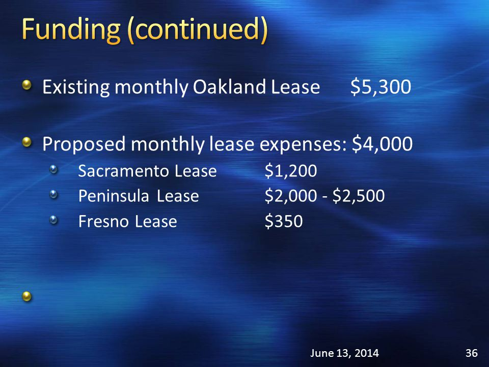 Existing monthly Oakland Lease $5,300 Proposed monthly lease expenses: $4,000 Sacramento Lease$1,200 Peninsula Lease$2,000 - $2,500 Fresno Lease$350 June 13, 201436