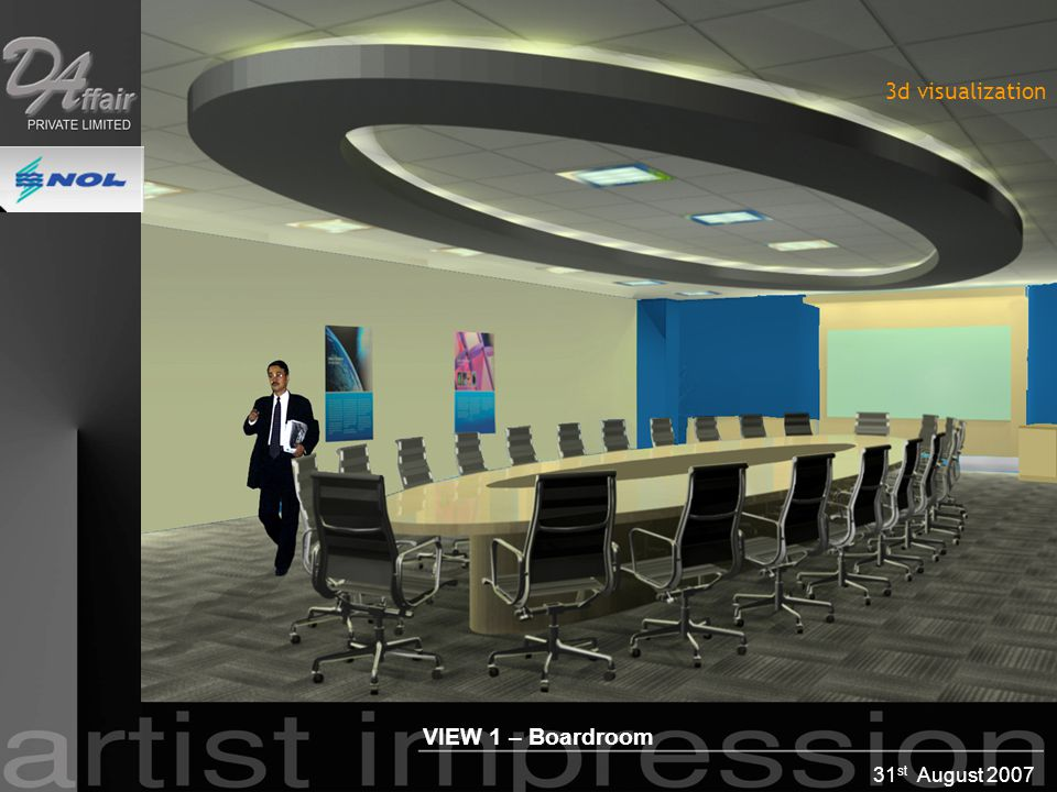 31 st August 2007 VIEW 1 – Boardroom 3d visualization