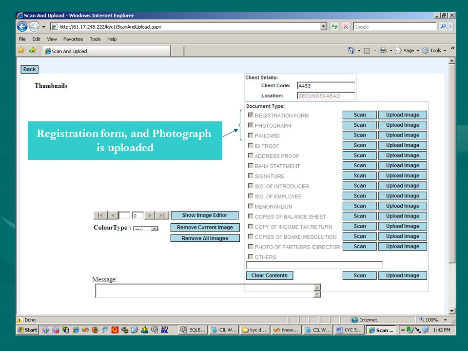Registration form, and Photograph is uploaded