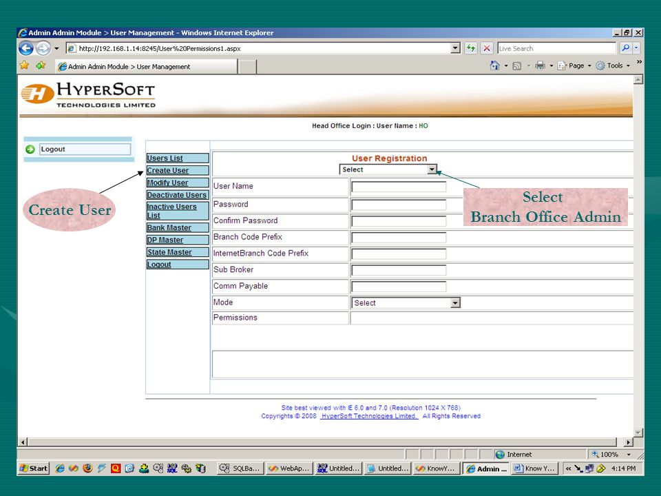 Select Branch Office Admin Create User