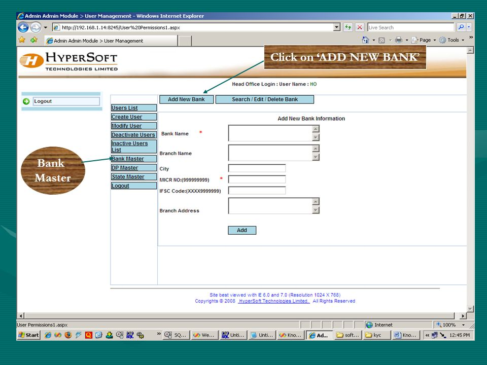 Bank Master Click on ADD NEW BANK