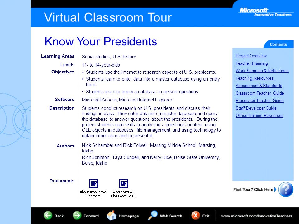 Know Your Presidents Project Overview Teacher Planning Work Samples & Reflections Teaching Resources Assessment & Standards Classroom Teacher Guide Preservice Teacher Guide Staff Developer Guide Office Training Resources Learning Areas Levels Objectives Software Description Documents Authors Social studies, U.S.