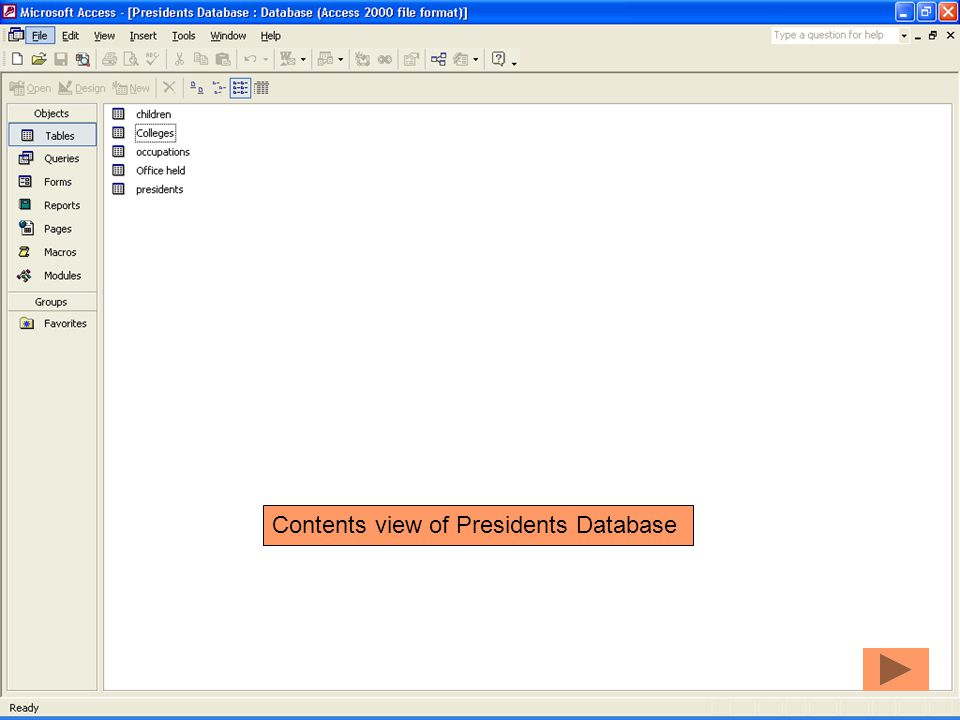 Contents view of Presidents Database