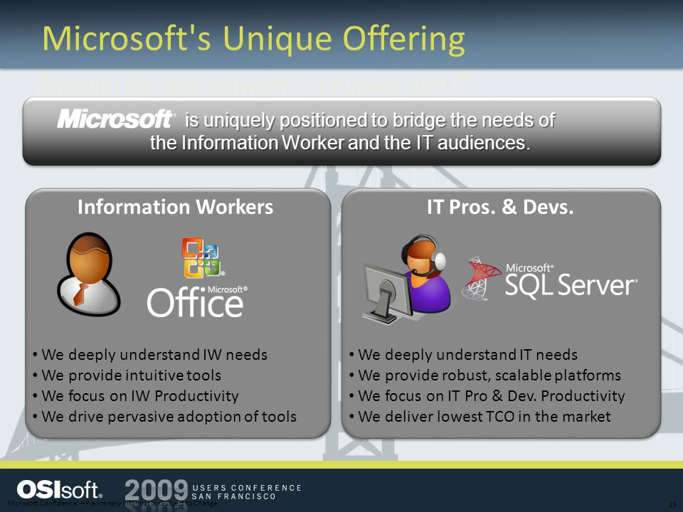Microsoft's Unique Offering Information WorkersIT Pros. & Devs. We deeply understand IW needs We provide intuitive tools We focus on IW Productivity W