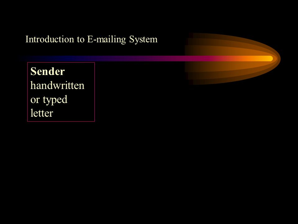 Introduction to E-mailing System Sender typed letter in computer Mailing Service Provider Recipient typed letter appeared in computer Modem or Broadband Internet Modem or Broadband
