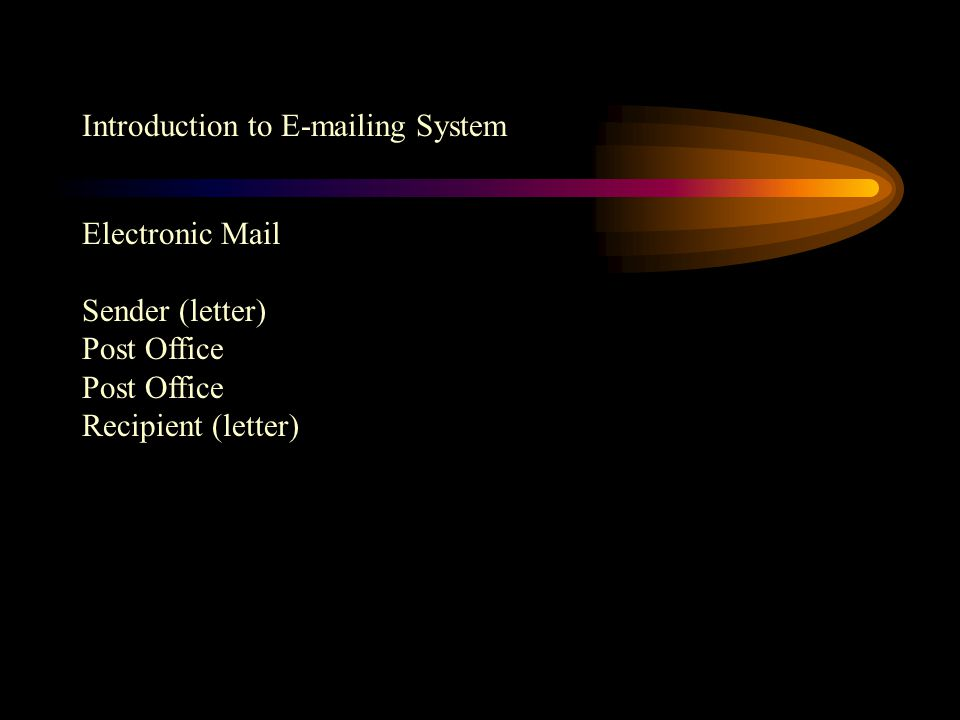 Introduction to E-mailing System Sender typed letter in computer Post Office Distribute letter by postman Recipient handwritten or typed letter By hand or Postbox (Postman) Airplane, ship, train or Vehicle Collected in Post office or by Postman