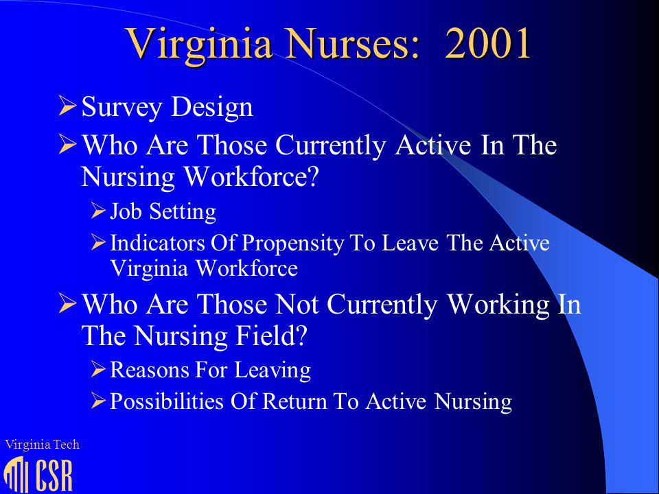 Age Characteristics* Of Those Currently Working In Nursing Median Age Percentage Age 55 CNA4421% LPN4520% RN4516% CNS5030% LNP4615% Virginia Tech * Excludes those not reporting date of birth.