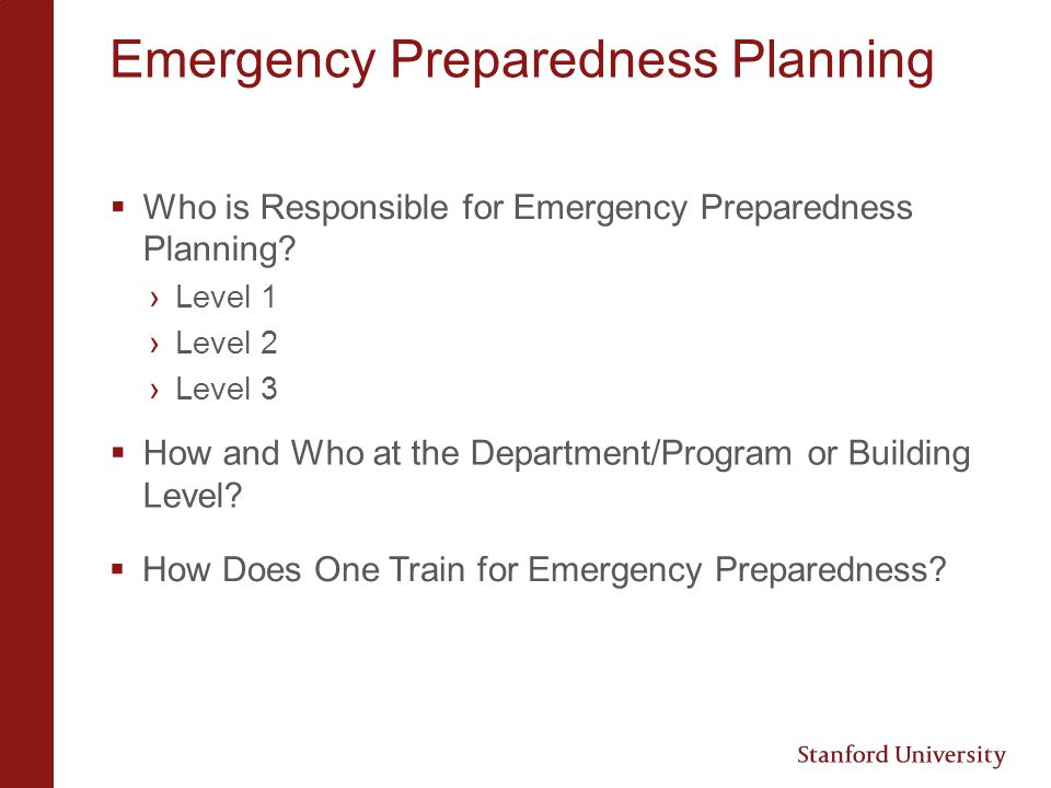 Emergency Preparedness Planning What are the Areas of Concern that Cut Across Different Emergency Situations.