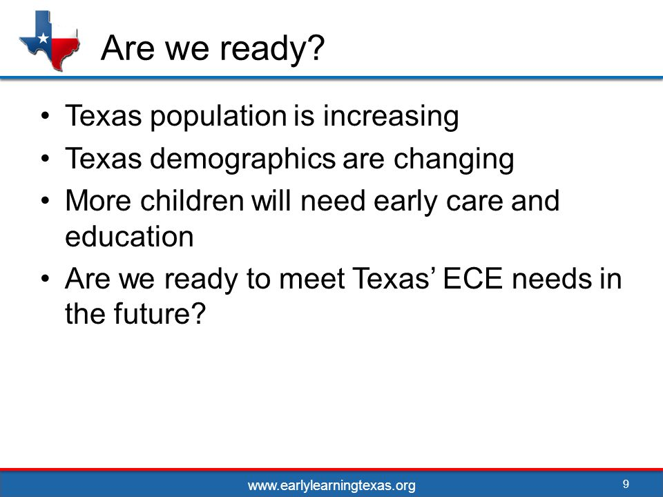 Improved collaborations and enhanced standards 20 Improved school readiness Improved local planning Sharing resources among sectors Improved cross sector standards www.earlylearningtexas.org