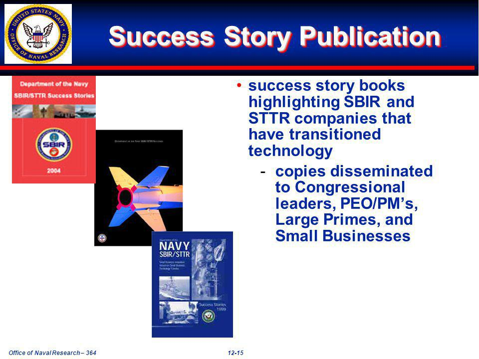 Office of Naval Research – 36412-15 Success Story Publication success story books highlighting SBIR and STTR companies that have transitioned technology -copies disseminated to Congressional leaders, PEO/PMs, Large Primes, and Small Businesses