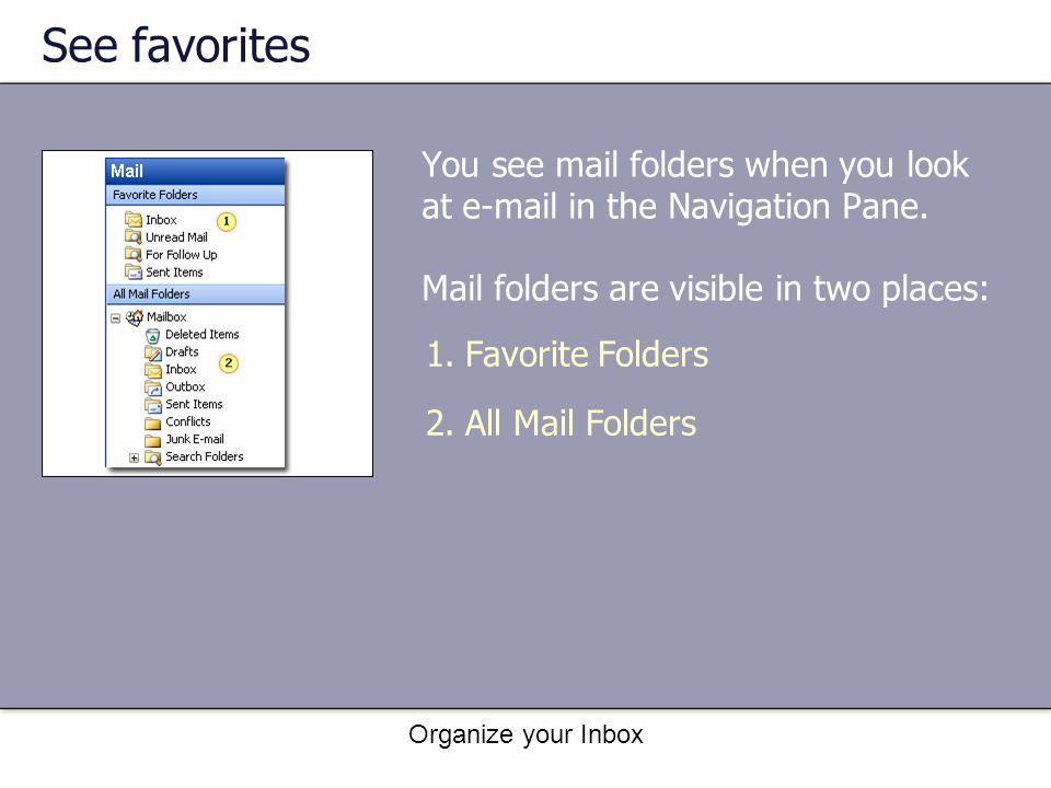 Organize your Inbox See favorites You see mail folders when you look at e-mail in the Navigation Pane. Mail folders are visible in two places: 1.Favor