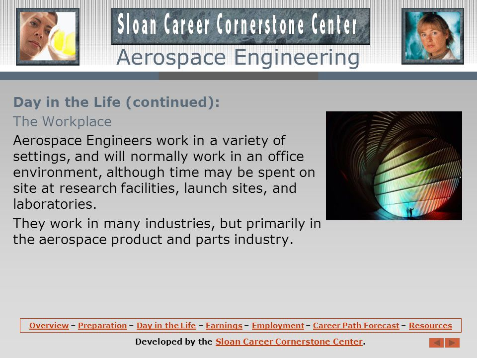 Aerospace Engineering Day in the Life (continued): Tasks Aerospace engineers often use computer- aided design (CAD) software, robotics, and lasers and advanced electronic optics.
