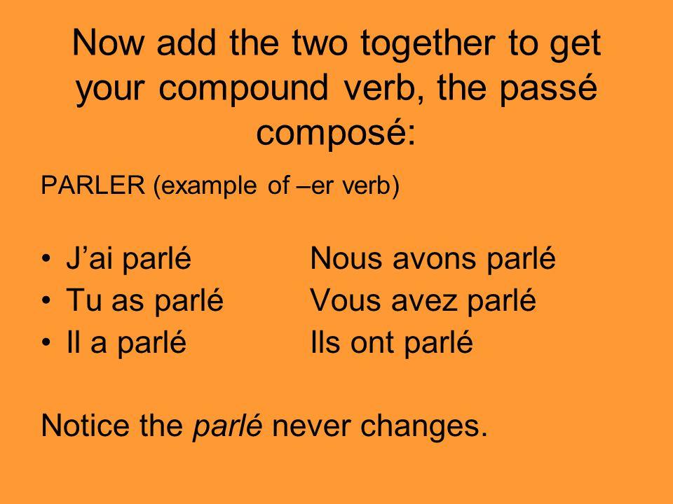 Now add the two together to get your compound verb, the passé composé: PARLER (example of –er verb) Jai parléNous avons parlé Tu as parléVous avez parlé Il a parléIls ont parlé Notice the parlé never changes.