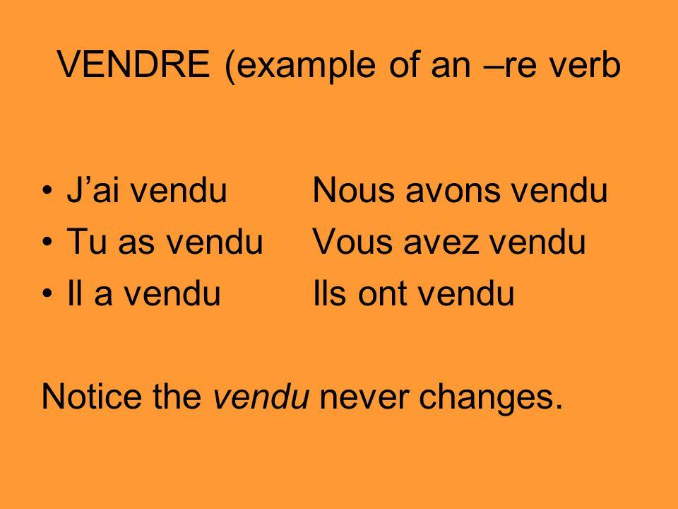 VENDRE (example of an –re verb Jai vendu Nous avons vendu Tu as venduVous avez vendu Il a venduIls ont vendu Notice the vendu never changes.