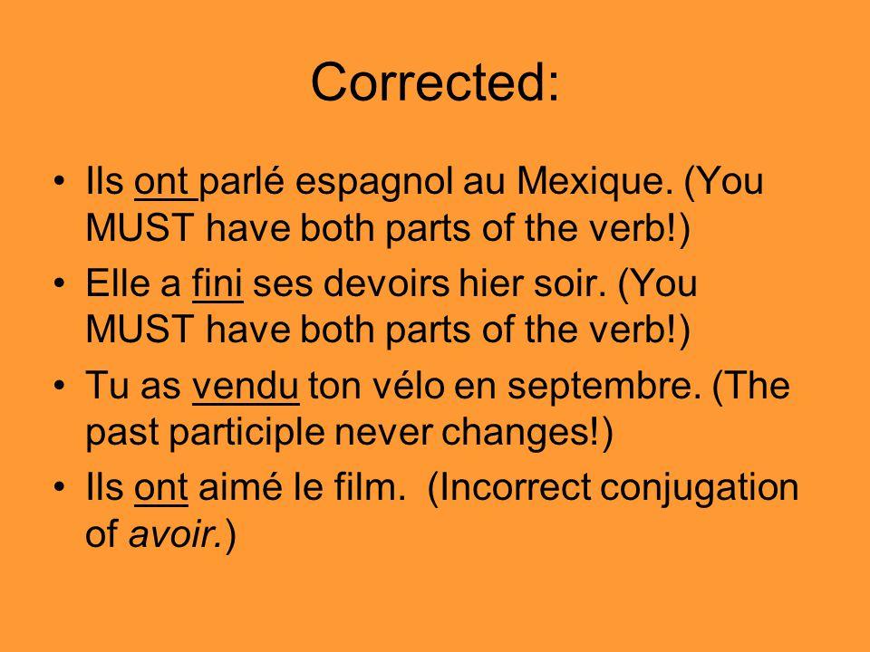 Corrected: Ils ont parlé espagnol au Mexique.