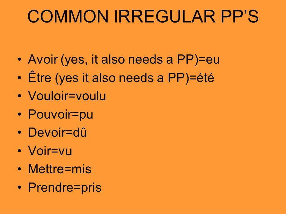 COMMON IRREGULAR PPS Avoir (yes, it also needs a PP)=eu Être (yes it also needs a PP)=été Vouloir=voulu Pouvoir=pu Devoir=dû Voir=vu Mettre=mis Prendre=pris