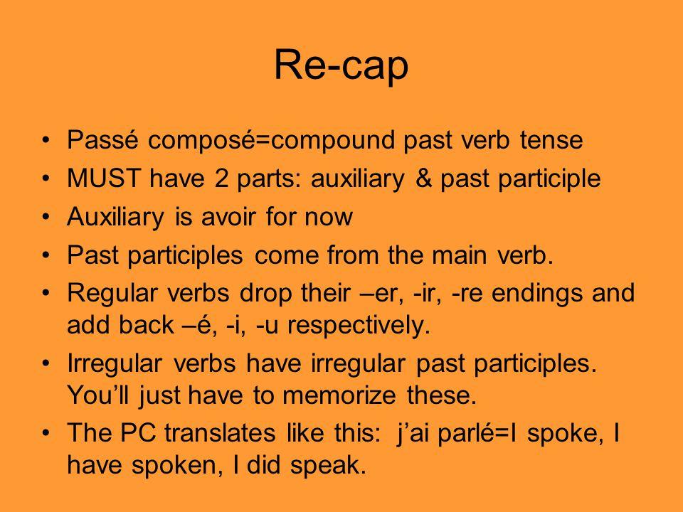 Re-cap Passé composé=compound past verb tense MUST have 2 parts: auxiliary & past participle Auxiliary is avoir for now Past participles come from the main verb.
