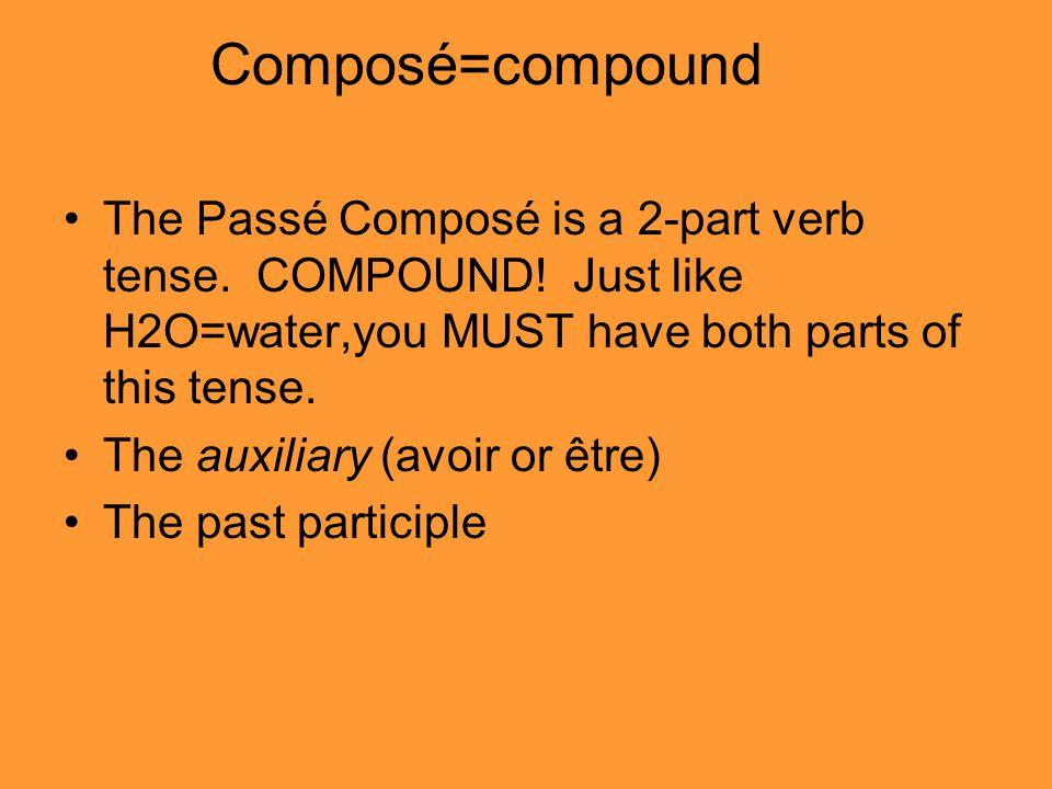 Composé=compound The Passé Composé is a 2-part verb tense.