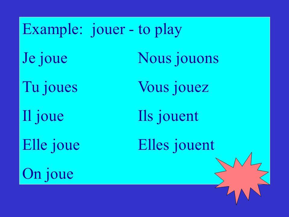 Example: jouer - to play Je joueNous jouons Tu jouesVous jouez Il joueIls jouent Elle joueElles jouent On joue