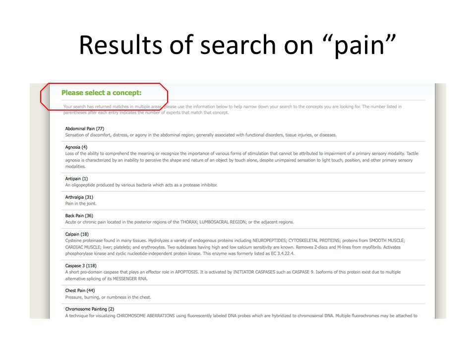 Results of search on pain