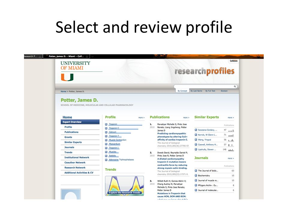 Select and review profile
