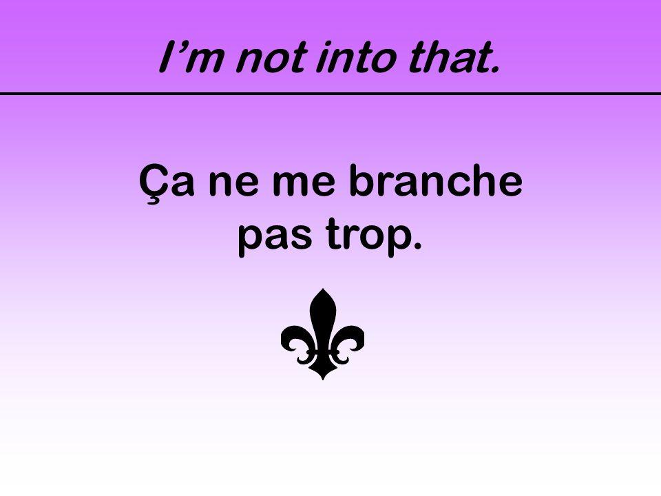 Im not into that. Ça ne me branche pas trop.