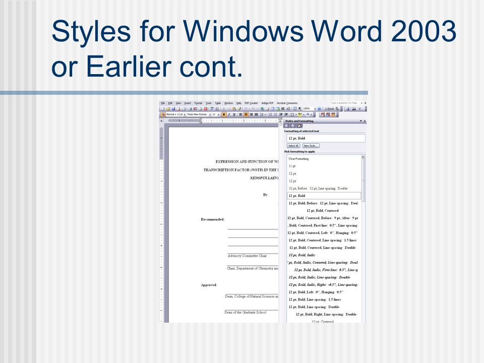 Styles for Windows Word 2003 or Earlier cont.