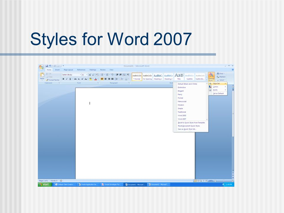 Styles for Word 2007