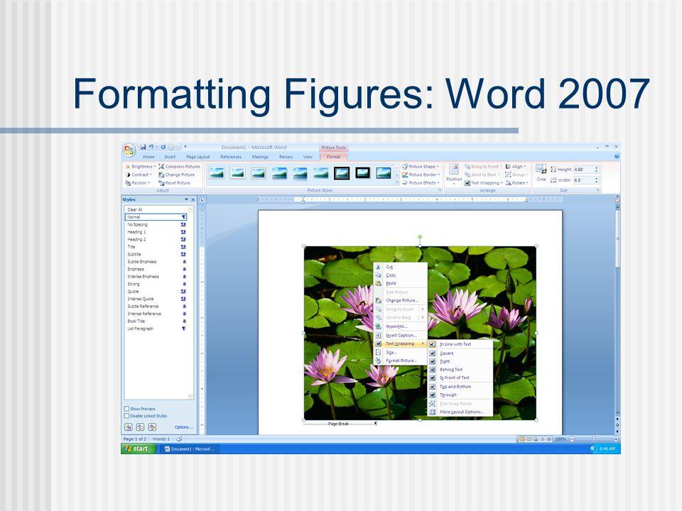 Formatting Figures: Word 2007