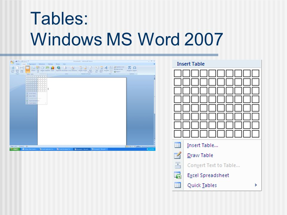 Tables: Windows MS Word 2007