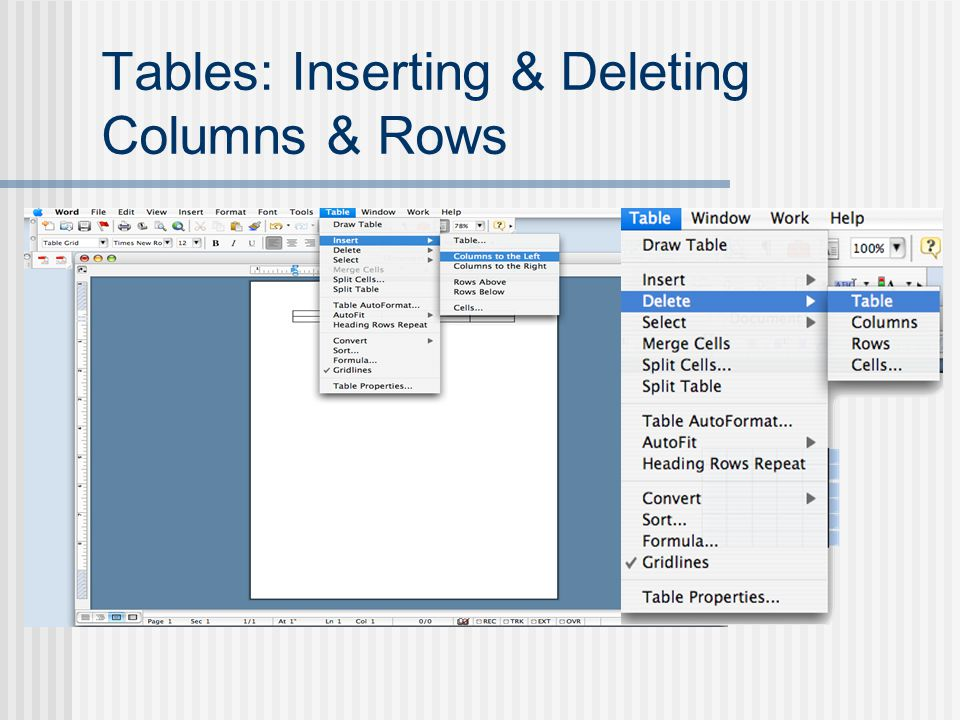 Tables: Inserting & Deleting Columns & Rows