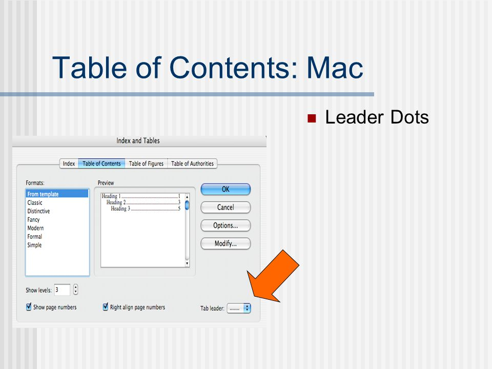 Table of Contents: Mac Leader Dots