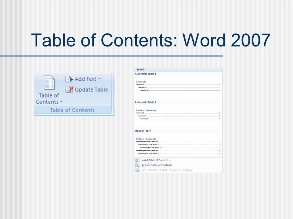 Table of Contents: Word 2007