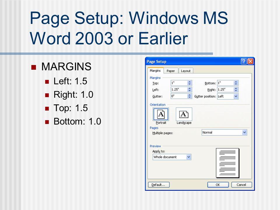 Page Numbers: Windows MS Word 2007