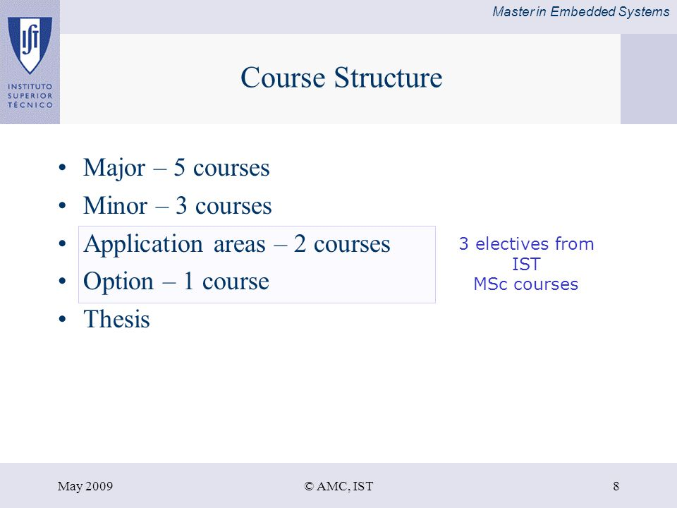 Master in Embedded Systems May 2009© AMC, IST8 Course Structure Major – 5 courses Minor – 3 courses Application areas – 2 courses Option – 1 course Thesis 3 electives from IST MSc courses
