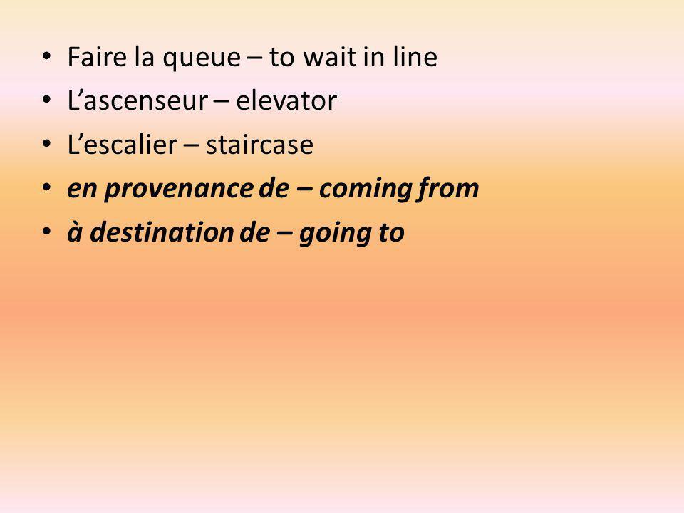 Le Train – train La gare – train station Le TGV (Train à Grande Vitesse) – high speed train La SNCF – French train company Un quai – platform LEurotunnel – train that travels from France to England through/under the English Channel La Manche – English Channel (body of water that separates France and England) La France – France LAngleterre – England