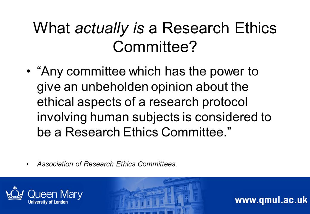 What actually is a Research Ethics Committee .