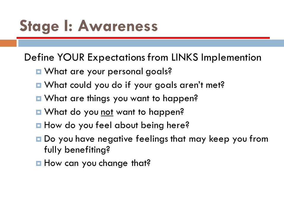 Stage I: Awareness Define YOUR Expectations from LINKS Implemention What are your personal goals.