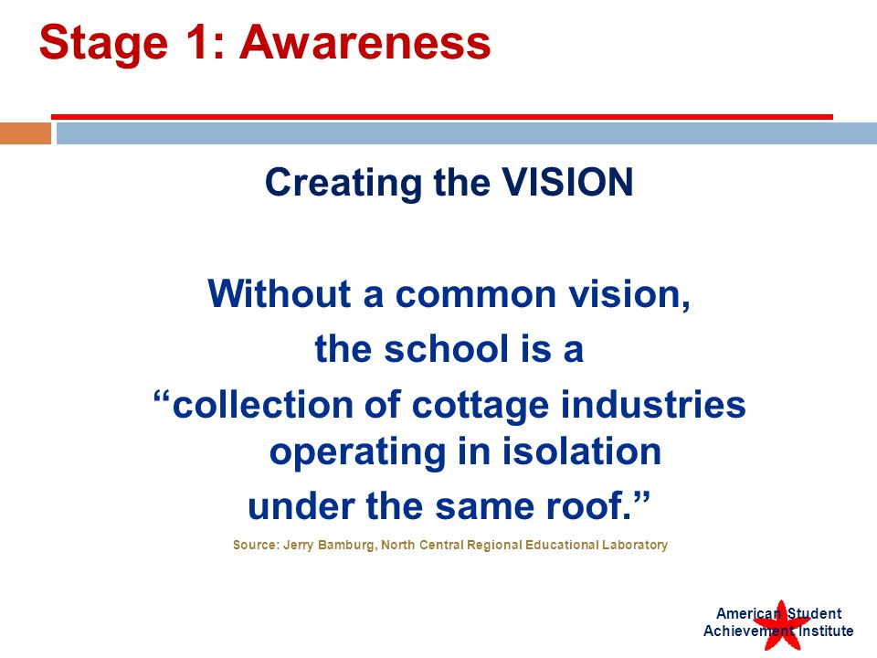 American Student Achievement Institute Stage 1: Awareness Creating the VISION Without a common vision, the school is a collection of cottage industries operating in isolation under the same roof.