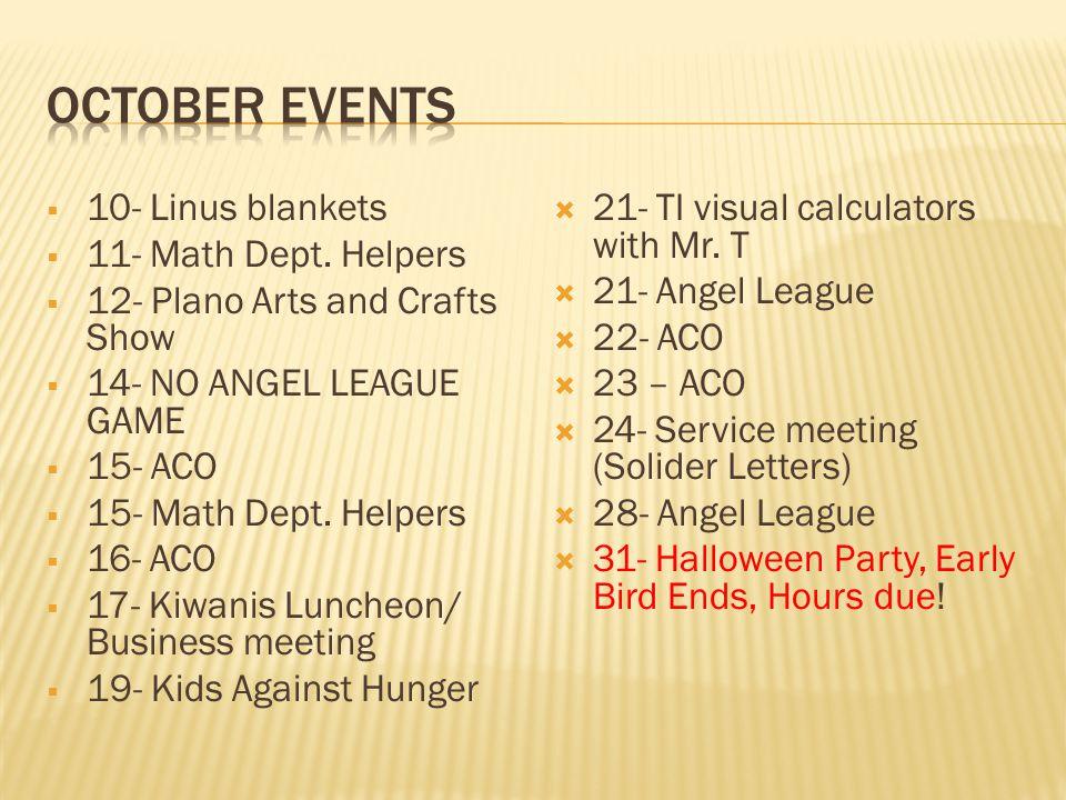 10- Linus blankets 11- Math Dept.