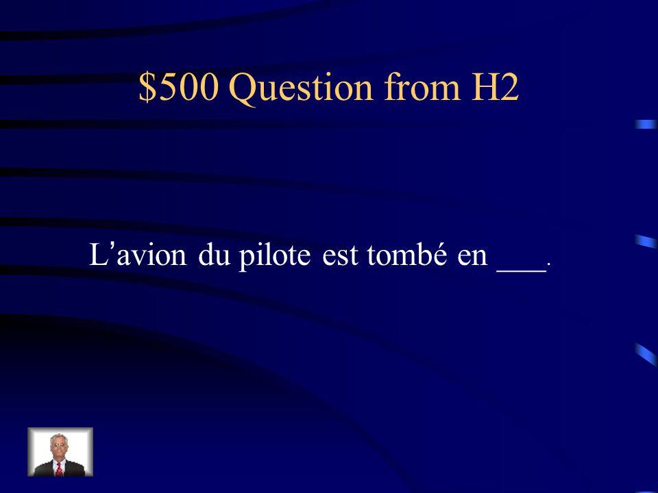 $500 Question from H2 Lavion du pilote est tombé en ___.