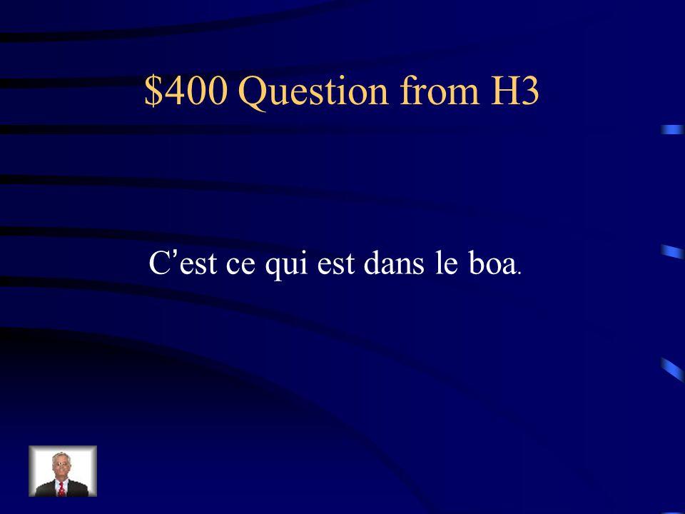 $400 Question from H3 Cest ce qui est dans le boa.
