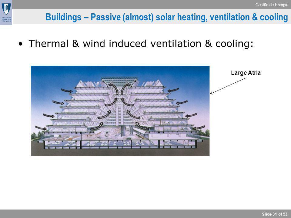 Gestão de Energia Slide 34 of 53 Buildings – Passive (almost) solar heating, ventilation & cooling Thermal & wind induced ventilation & cooling: Large