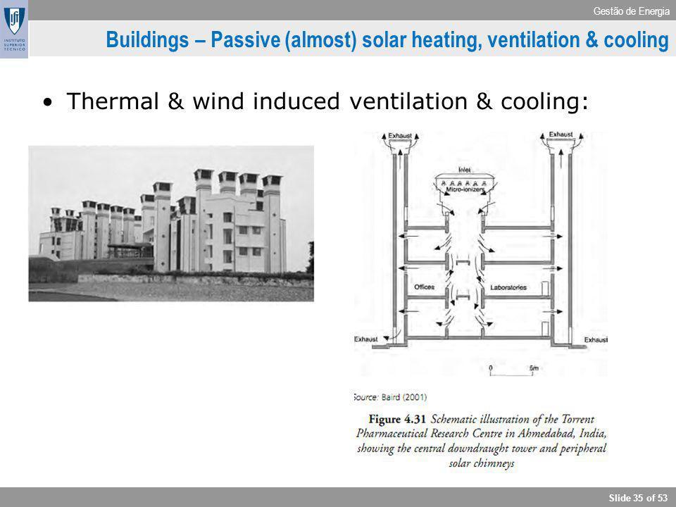 Gestão de Energia Slide 35 of 53 Buildings – Passive (almost) solar heating, ventilation & cooling Thermal & wind induced ventilation & cooling: