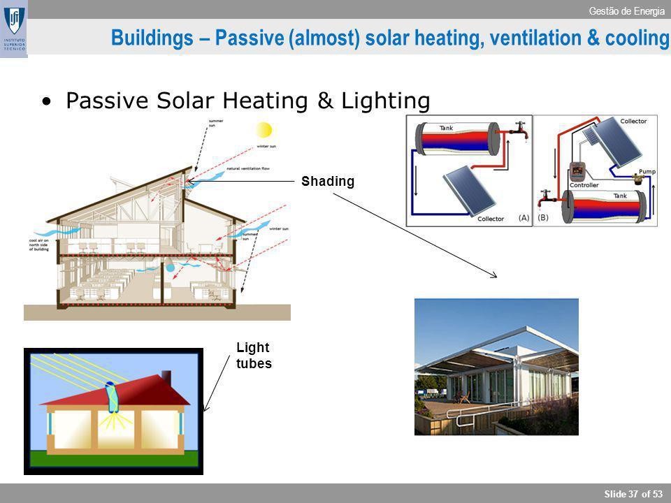 Gestão de Energia Slide 37 of 53 Buildings – Passive (almost) solar heating, ventilation & cooling Passive Solar Heating & Lighting Shading Light tube