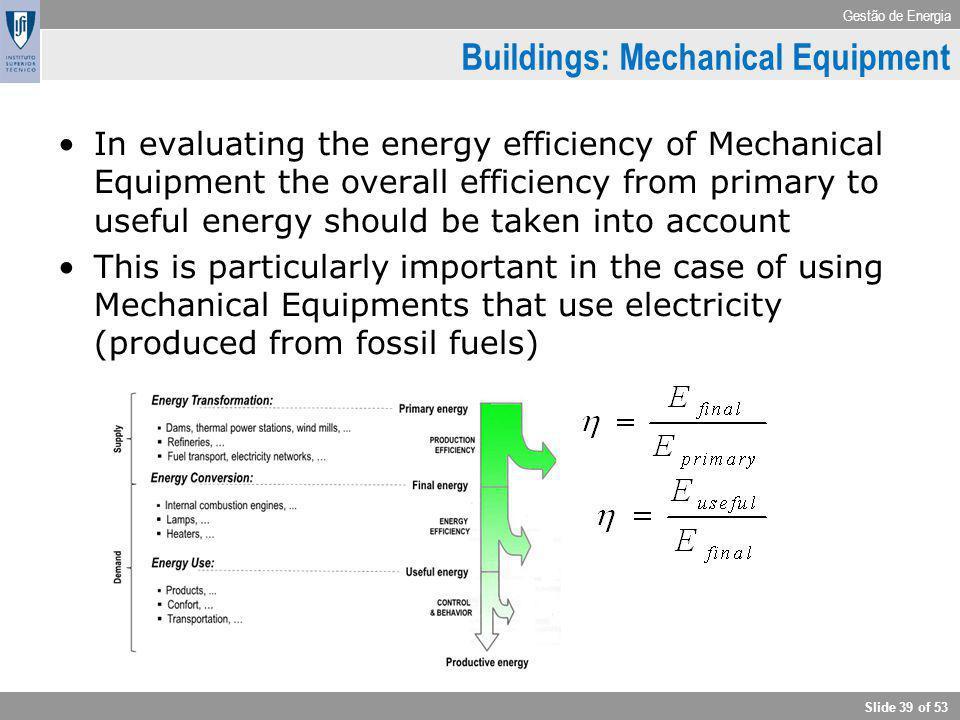 Gestão de Energia Slide 39 of 53 Buildings: Mechanical Equipment In evaluating the energy efficiency of Mechanical Equipment the overall efficiency fr