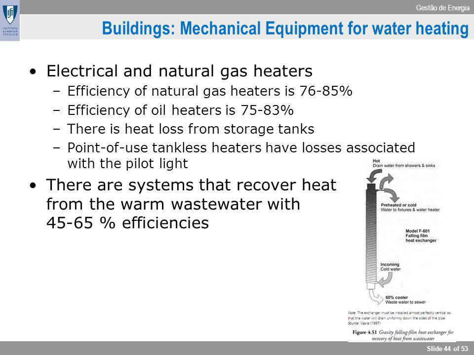 Gestão de Energia Slide 44 of 53 Buildings: Mechanical Equipment for water heating Electrical and natural gas heaters –Efficiency of natural gas heate
